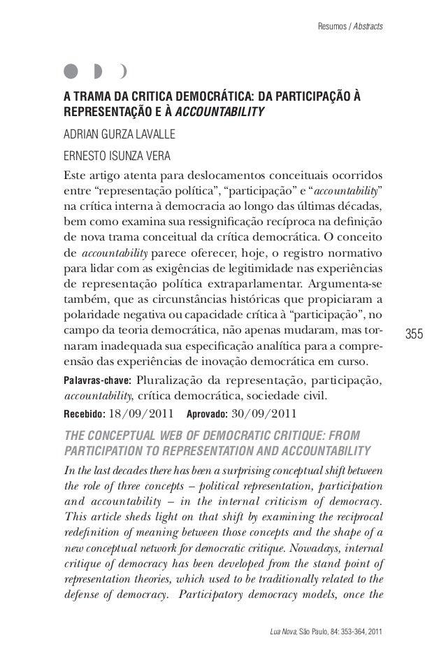 Resumos / Abstracts  A TRAMA DA CRITICA DEMOCRÁTICA: DA PARTICIPAÇÃO À REPRESENTAÇÃO E À ACCOUNTABILITY ADRIAN GURZA LAVAL...