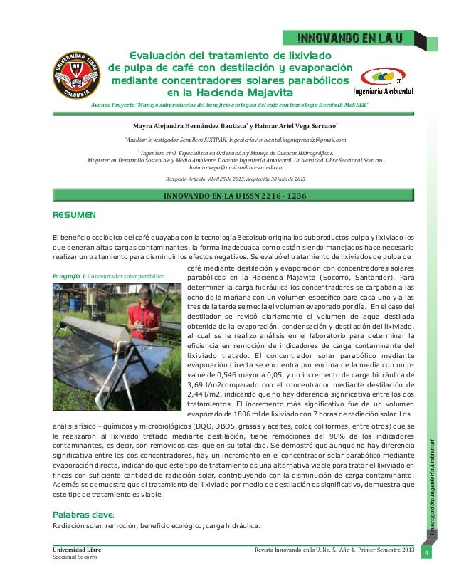 Evaluación del tratamiento de lixiviado de pulpa de café con destilación y evaporación mediante concentradores solares par...