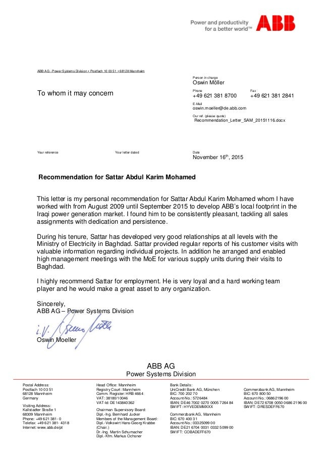 recommendation letter from abb germany for period 2009