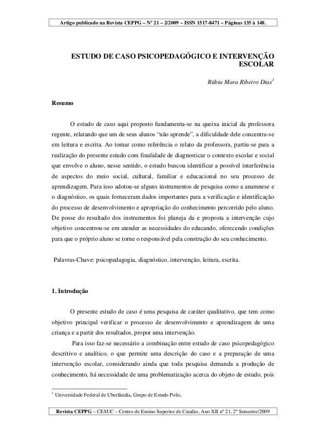 Artigo publicado na Revista CEPPG – Nº 21 – 2/2009 – ISSN 1517-8471 – Páginas 135 à 148.Revista CEPPG – CESUC – Centro de ...