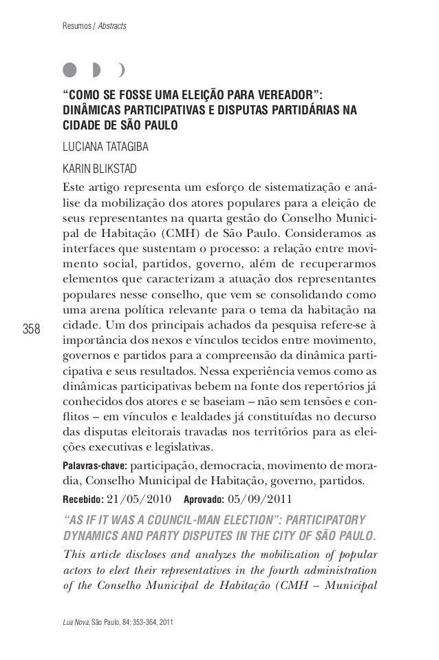 """Resumos / Abstracts  """"COMO SE FOSSE UMA ELEIÇÃO PARA VEREADOR"""": DINÂMICAS PARTICIPATIVAS E DISPUTAS PARTIDÁRIAS NA CIDADE ..."""