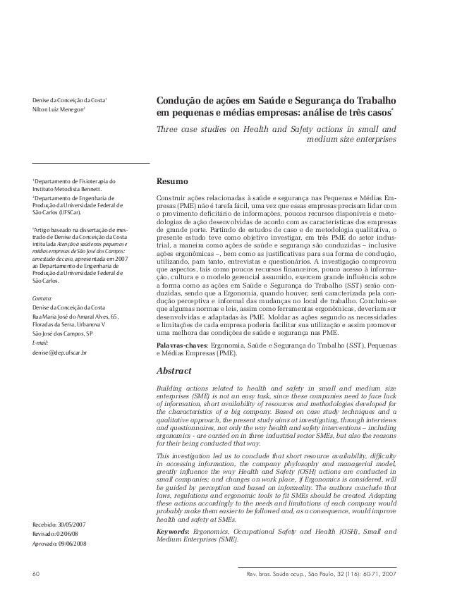 Rev. bras. Saúde ocup., São Paulo, 32 (116): 60-71, 200760 Condução de ações em Saúde e Segurança do Trabalho em pequenas ...