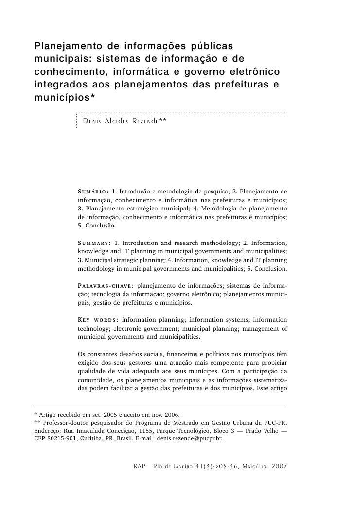 Planejamento de informações públicas municipais: sistemas de informação e de conhecimento, informática e governo eletrônic...