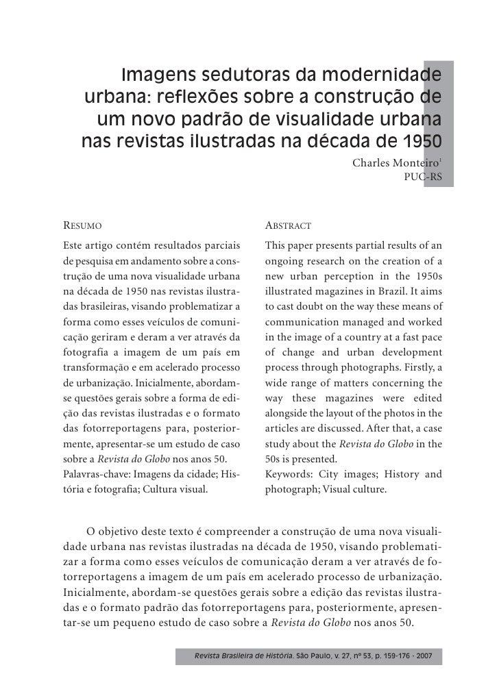 Imagens sedutoras da modernidade     urbana: reflexões sobre a construção de      um novo padrão de visualidade urbana    ...