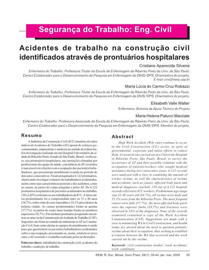 Cristiane Aparecida Silveira et al.              Segurança do Trabalho: Eng. CivilAcidentes de trabalho na construção civi...