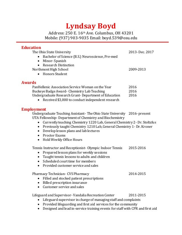 Resume for medical student