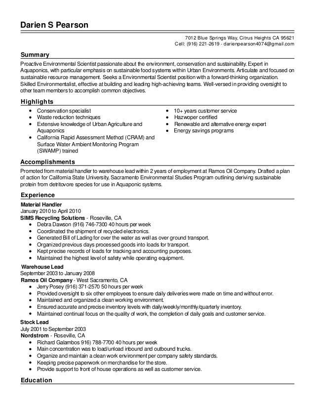 Elegant Resume   Live Career. Darien S Pearson Summary Proactive Environmental  Scientist Passionate About The Environment, Conservation And Sustainabili. With Resume Livecareer Login