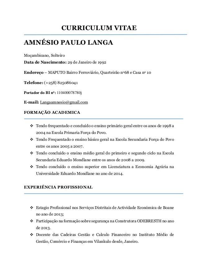 Amnesio Paulo Langa Curriculum