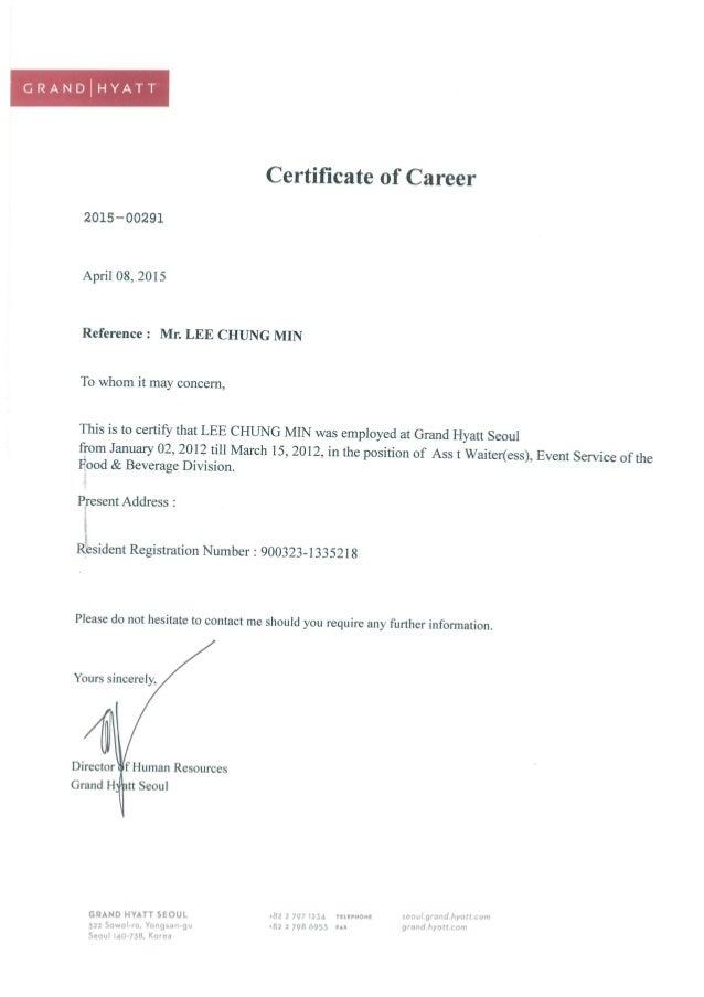 Certificate Of Career