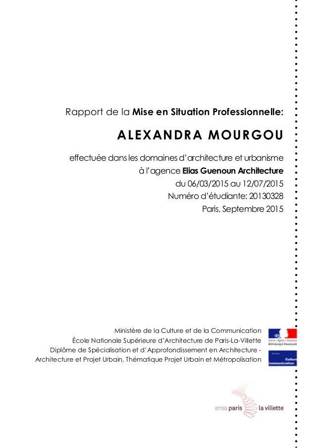 ALEXANDRA MOURGOU Ministère de la Culture et de la Communication École Nationale Supérieure d'Architecture de Paris-La-Vil...