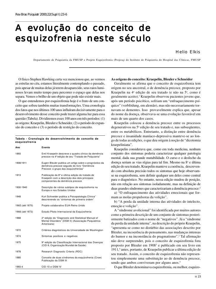 Rev Bras Psiquiatr 2000;22(Supl I):23-6A evolução do conceito deesquizofrenia neste século                                ...