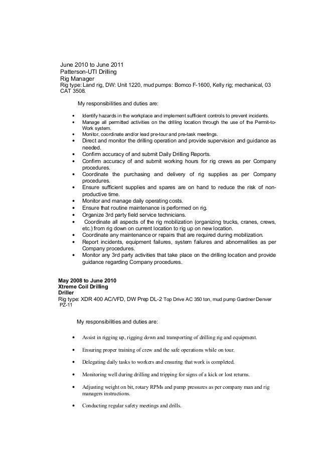 Dorable Drilling Manager Resume Adornment - Administrative Officer ...