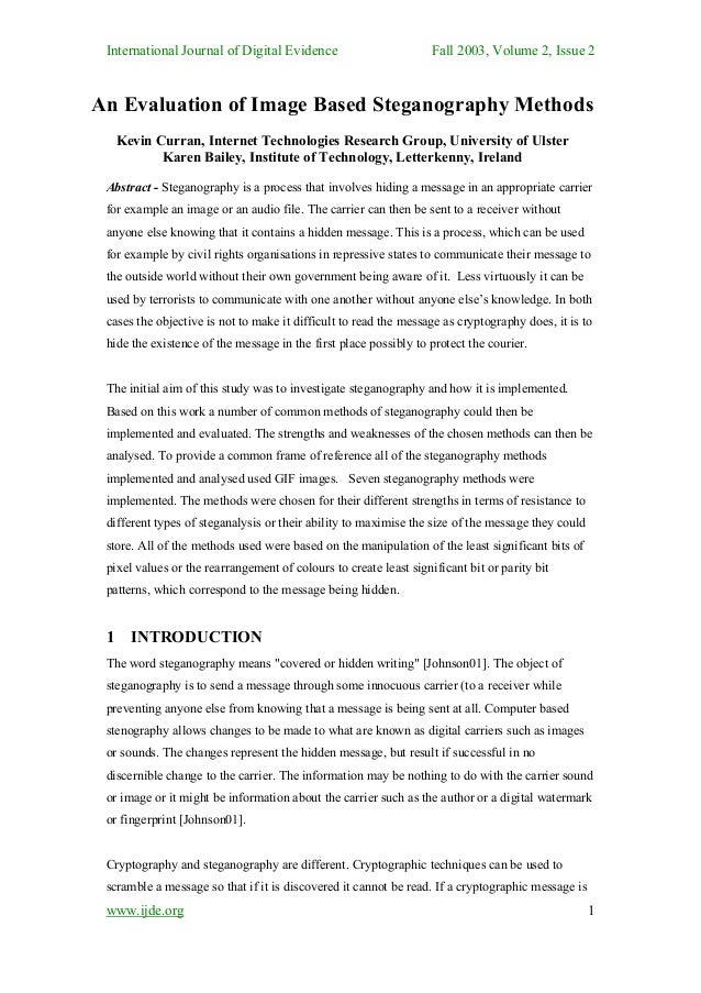 International Journal of Digital Evidence                         Fall 2003, Volume 2, Issue 2An Evaluation of Image Based...