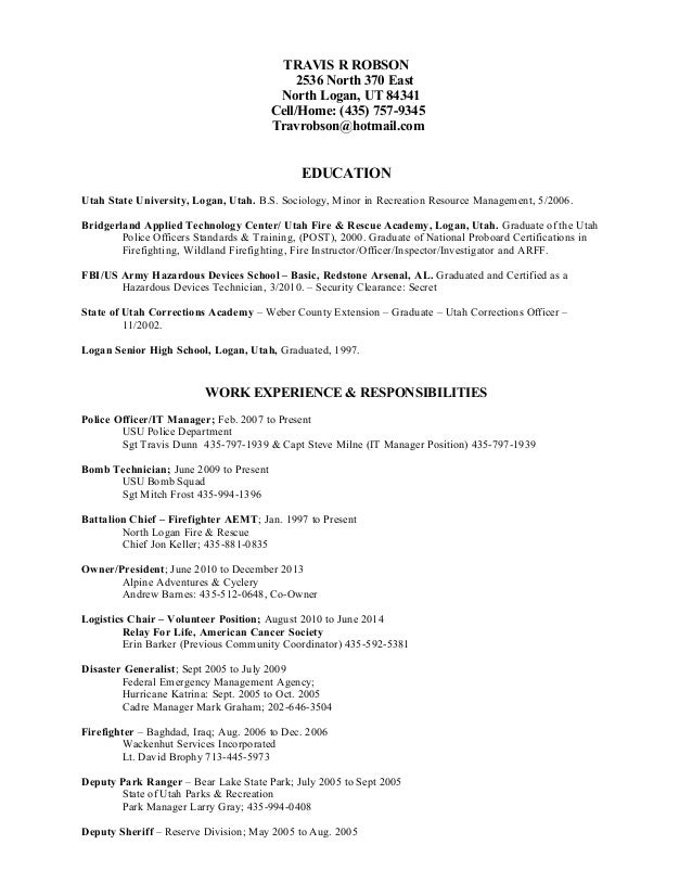 battalion chief resume