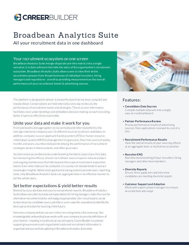 Broadbean Analytics Suite All your recruitment data in one dashboard Your recruitment ecosystem on one screen Broadbean An...