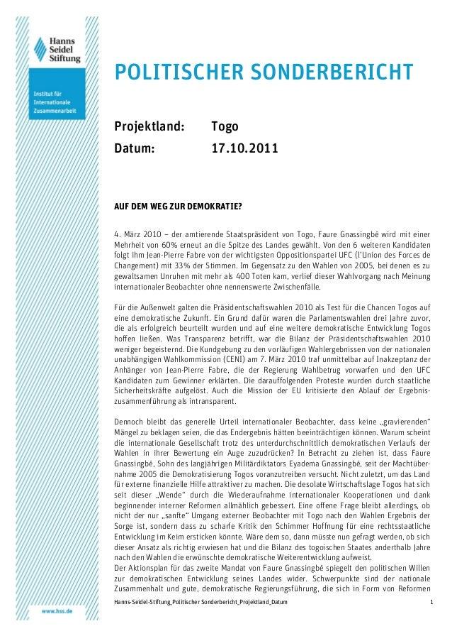 Hanns-Seidel-Stiftung_Politischer Sonderbericht_Projektland_Datum 1 POLITISCHER SONDERBERICHT Projektland: Togo Datum: 17....