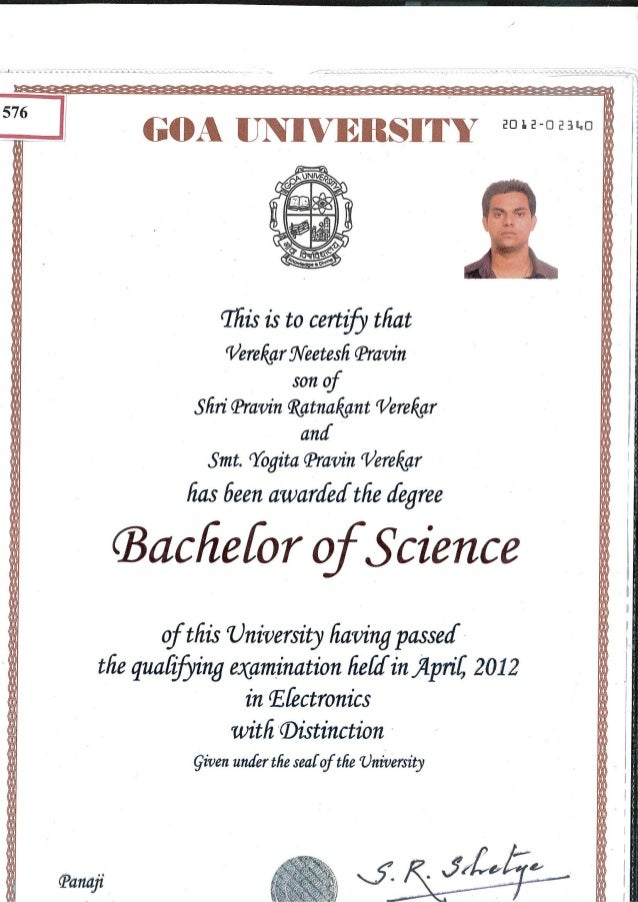 Bachelors Degree Certificate