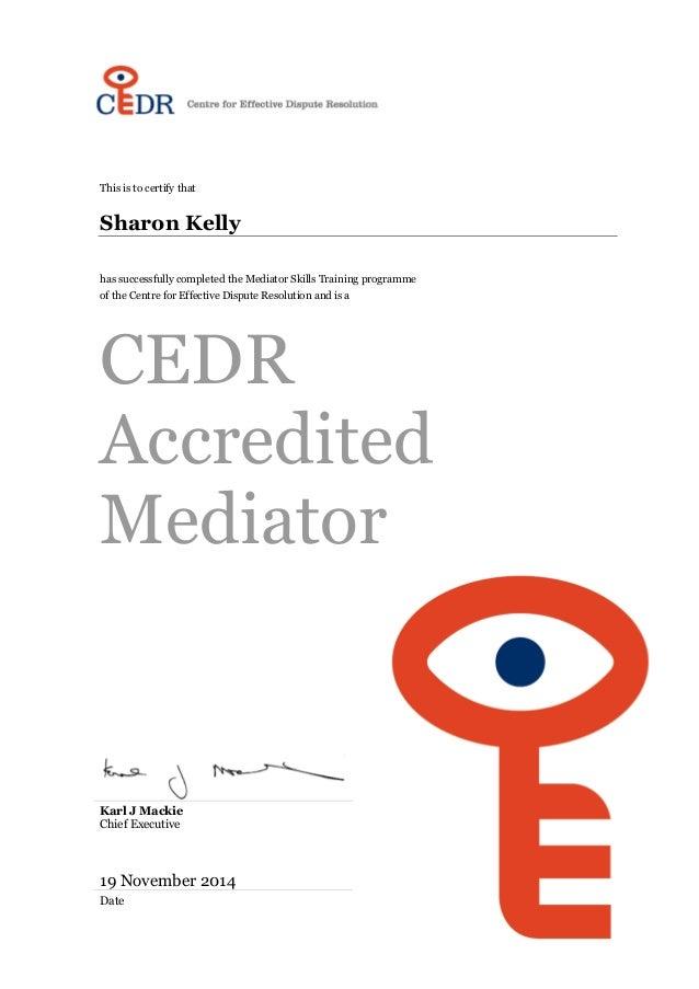 cedr accreditation certificate