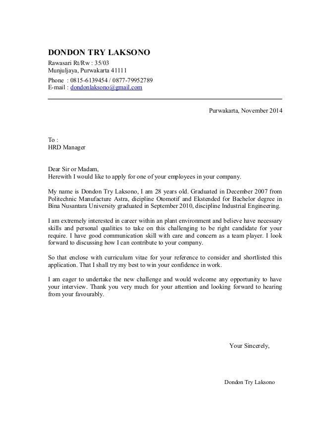 Cover Letter And CV Dondon (November 2014). DONDON TRY LAKSONO Rawasari  Rt/Rw : 35/03 Munjuljaya, Purwakarta 41111 Phone ...  Cover Letter Examples 2014