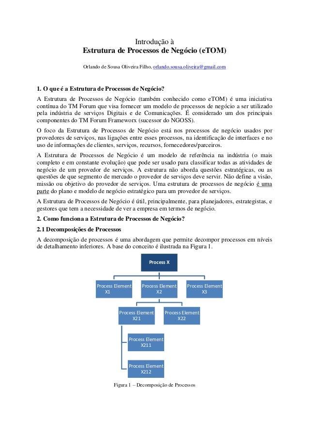 Introdução à Estrutura de Processos de Negócio (eTOM) Orlando de Sousa Oliveira Filho, orlando.sousa.oliveira@gmail.com 1....