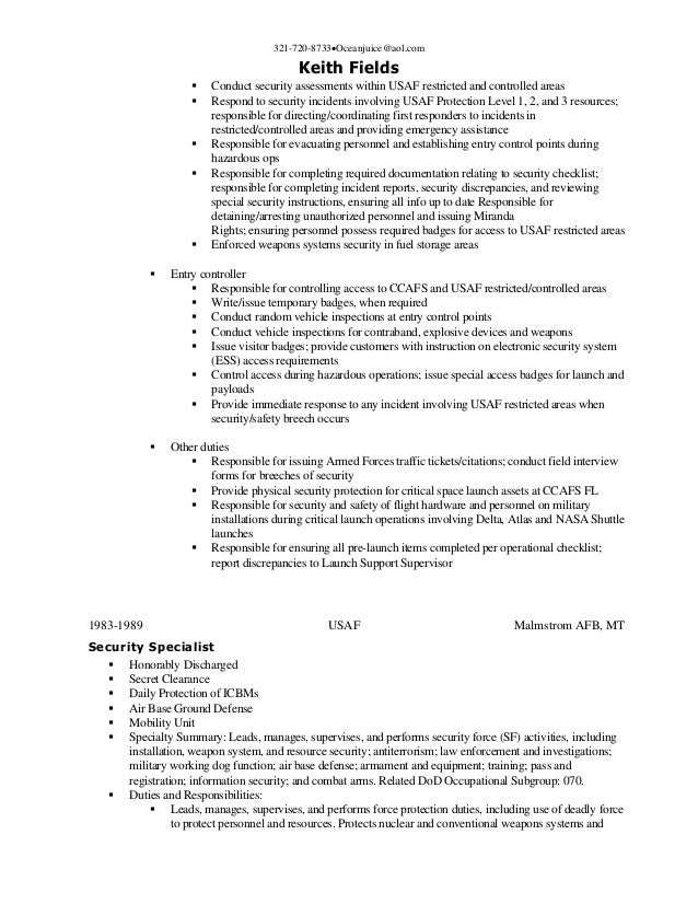 SlideShare  Physical Security Specialist Resume