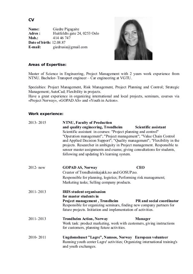 cv giedre pigagaite  english