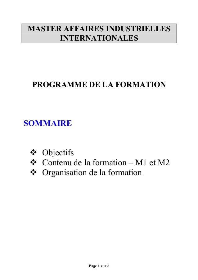 Page 1 sur 6 MASTER AFFAIRES INDUSTRIELLES INTERNATIONALES PROGRAMME DE LA FORMATION SOMMAIRE  Objectifs  Contenu de la ...