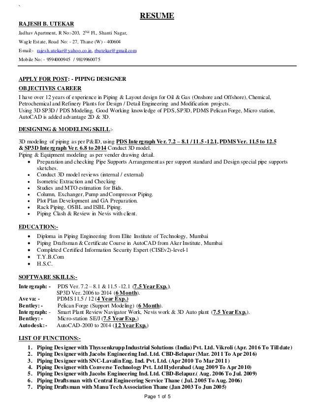 piping designer resume samples