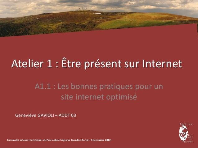 Atelier 1 : Être présent sur Internet                       A1.1 : Les bonnes pratiques pour un                           ...