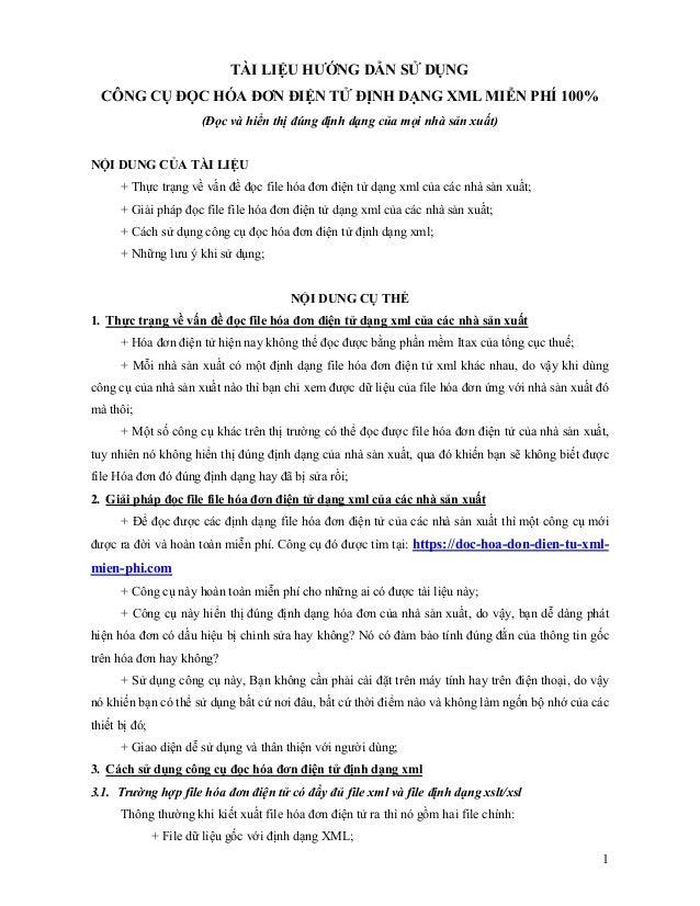 1 TÀI LIỆU HƯỚNG DẪN SỬ DỤNG CÔNG CỤ ĐỌC HÓA ĐƠN ĐIỆN TỬ ĐỊNH DẠNG XML MIỄN PHÍ 100% (Đọc và hiển thị đúng định dạng của m...