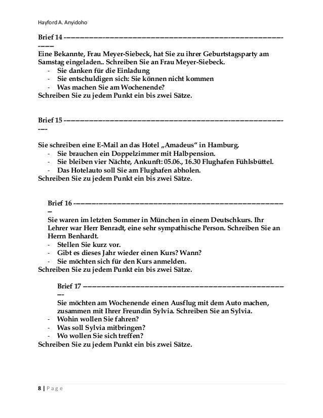 Goethe Zertifikat Telc A1 Briefe