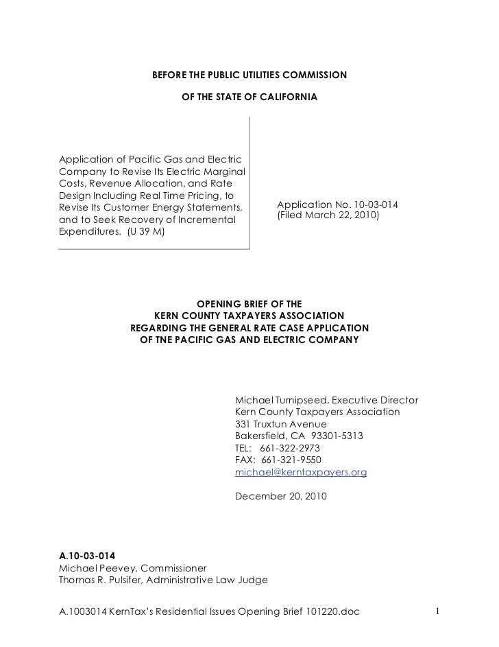 BEFORE THE PUBLIC UTILITIES COMMISSION                         OF THE STATE OF CALIFORNIAApplication of Pacific Gas and El...