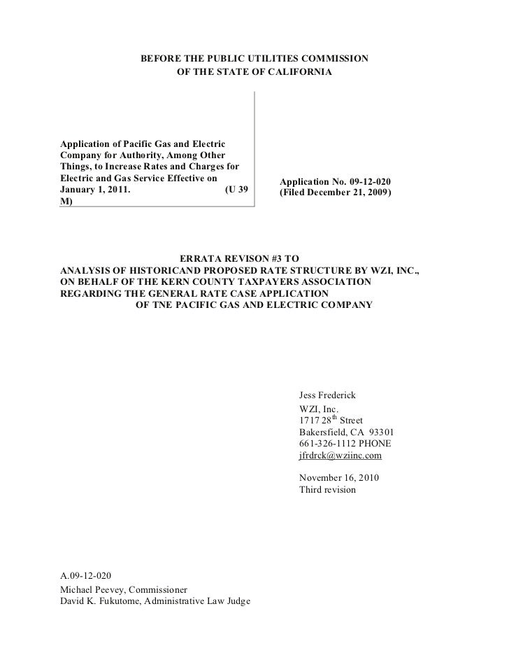 BEFORE THE PUBLIC UTILITIES COMMISSION                       OF THE STATE OF CALIFORNIAApplication of Pacific Gas and Elec...