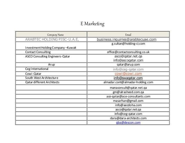 E Marketing CompanyName Email ARABTEC HOLDING PJSC-U.A.E, business.inquiries@arabtecuae.com InvestmentHolding Company –Kuw...