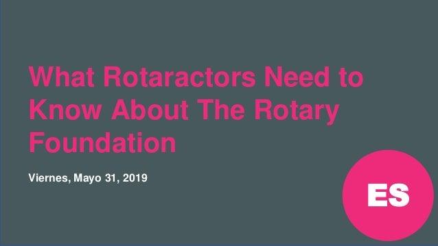 Reunión Preconvención de Rotaract 2019 #Rotaract19 What Rotaractors Need to Know About The Rotary Foundation Viernes, Mayo...