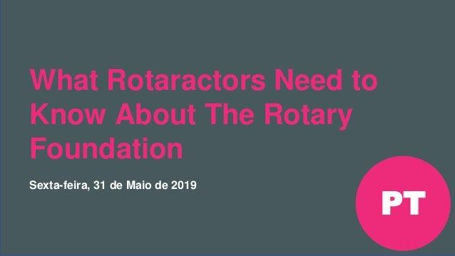 Encontro Rotaract Pré- Convenção de 2019 #Rotaract19 What Rotaractors Need to Know About The Rotary Foundation Sexta-feira...