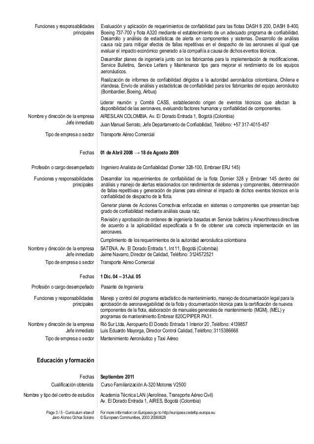 Excepcional Curriculum Vitae Profesional Del Cv Del Piloto Foto ...