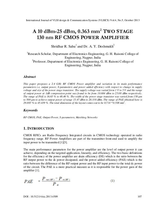 International Journal of VLSI design & Communication Systems (VLSICS) Vol.4, No.5, October 2013  A 10 dBm-25 dBm, 0.363 mm...