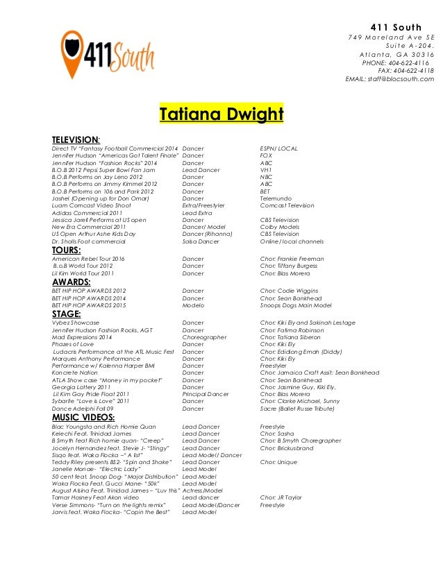 Tatiana Dwight Dance Resume