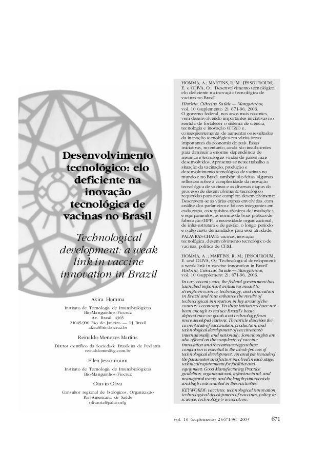 DESENVOLVIMENTO TECNOLÓGICO                                                              HOMMA, A.; MARTINS, R. M.; JESSOU...