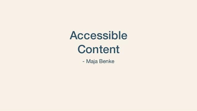 Accessible Content - Maja Benke