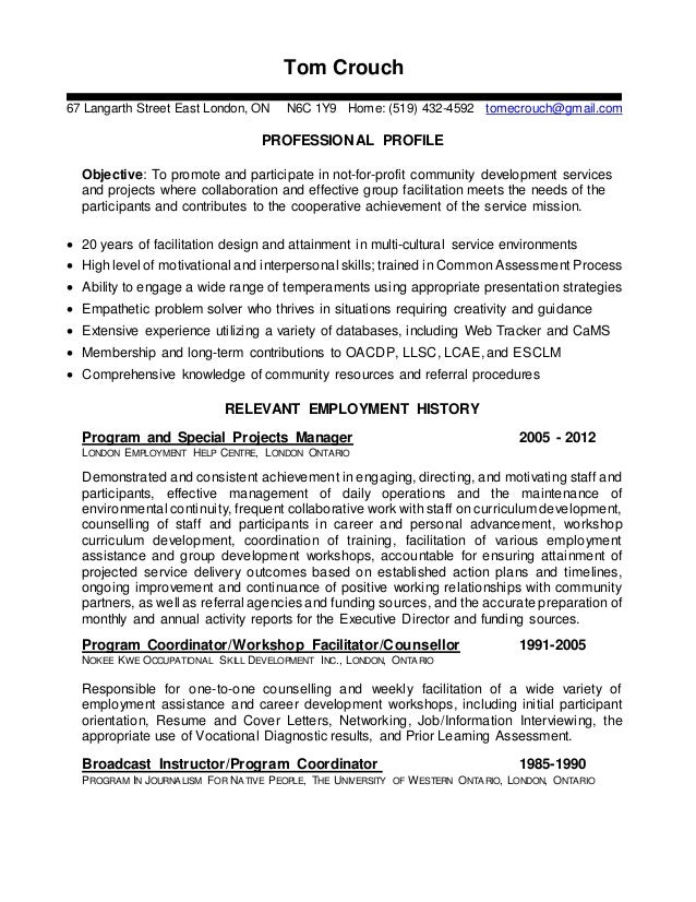 Toms Facilitator Resume Prior To Starting At Goodwill In 2012