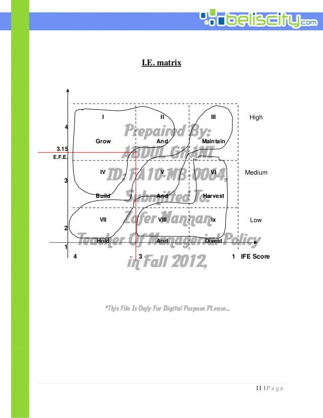 11 | P a g e I.E. matrix 4 I II III High 3.15 Grow And Maintain E.F.E. 3 IV V VI Medium Build And Harvest 2 VII VIII Ix Lo...