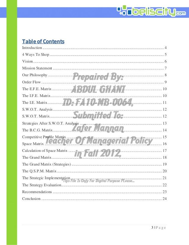 3 | P a g e Table of Contents Introduction...................................................................................