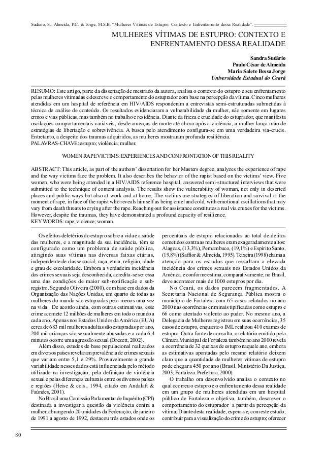"""Sudário, S., Almeida, P.C. & Jorge, M.S.B. """"Mulheres Vítimas de Estupro: Contexto e Enfrentamento dessa Realidade"""".       ..."""