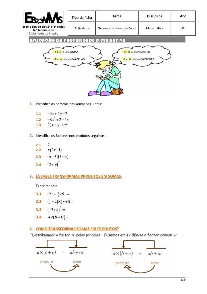 Tipo de ficha            Tema              Disciplina   AnoEscola Básica dos 2º e 3º ciclos        M.ª Manuela Sá         ...