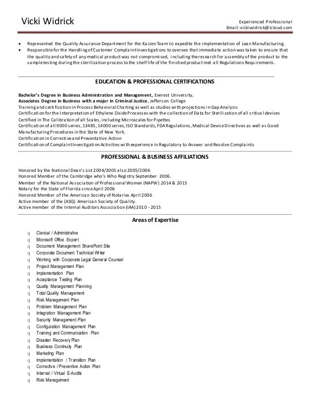 experienced professional resumes