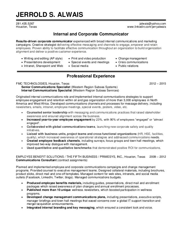 Nice SlideShare Ideas Corporate Communications Resume