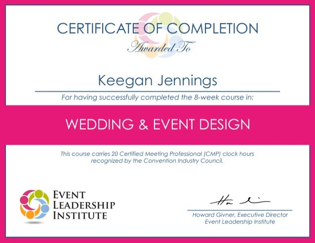 Certificate Of Completion  Wedding And Event Design