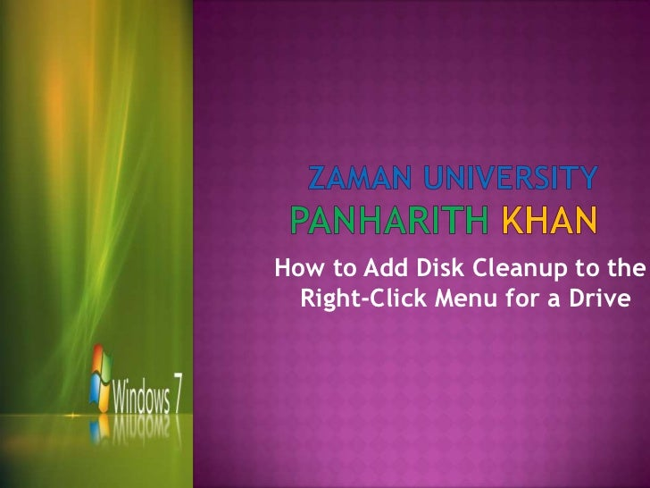 How to Add Disk Cleanup to the  Right-Click Menu for a Drive